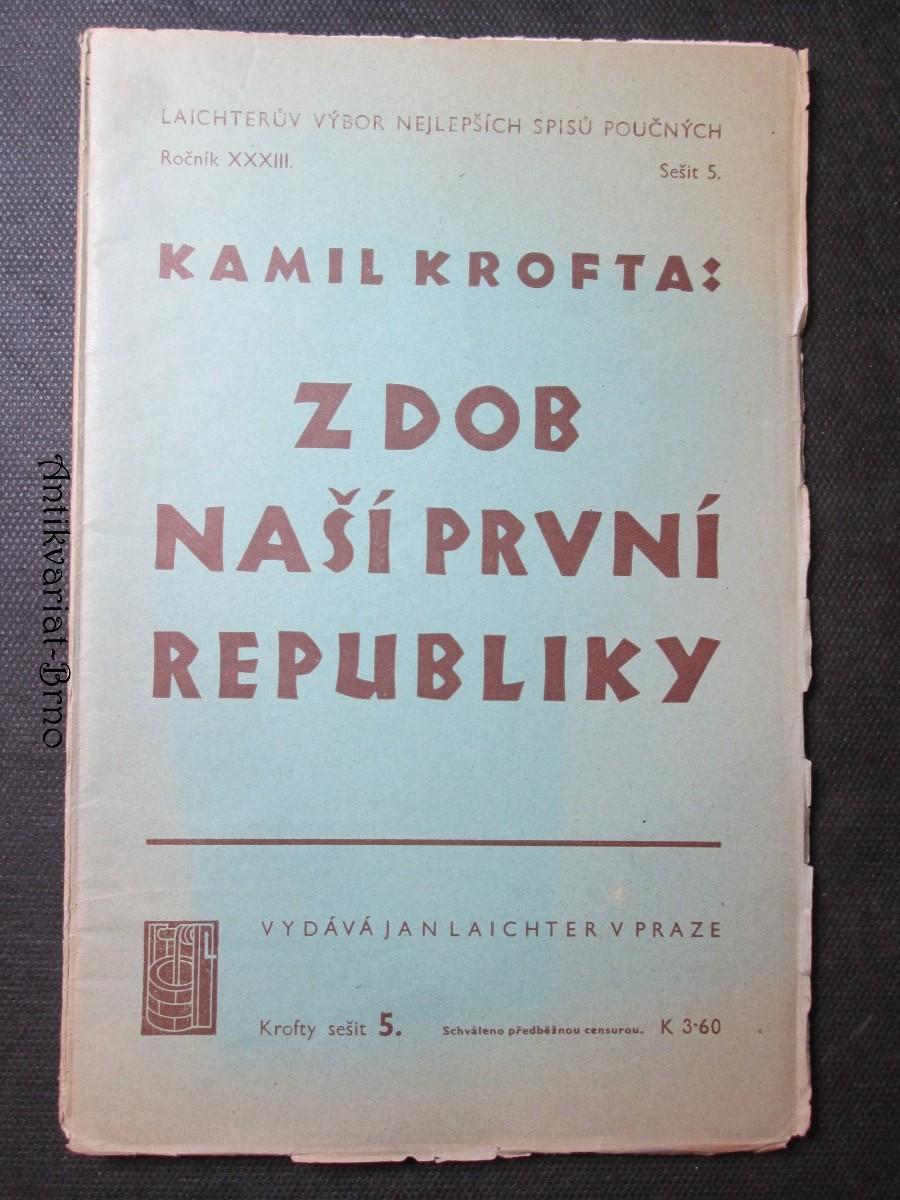 Z dob naší První republiky. Ročník XXXIII. Sešit 5.