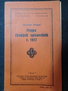 náhled knihy - Projev českých spisovatelů r. 1917