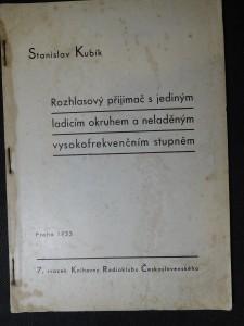 náhled knihy - Rozhlasový přijimač s jediným ladicím okruhem a naladěným vysokofrekvenčním stupněm