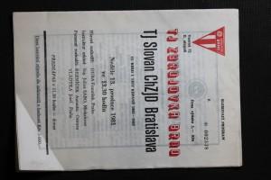 náhled knihy - TJ Zbrojovka Brno - TJ Slovan ChZJD Bratislava, 15. kolo I. ligy kopané 1981 - 1982