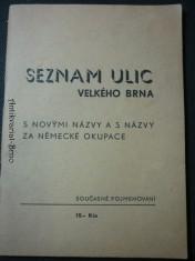 náhled knihy - seznam ulic velkého Brna s novými názvy a s názvy za německé okupace