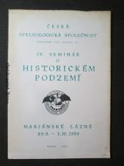 náhled knihy - IV. seminář o historickém podzemí. Mariánské lázně 29. 9. - 1. 10. 1989