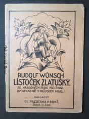 náhled knihy - Lístoček Zlatušký. 30 národních písní pro školu dvojhlasně s průvodem houslí
