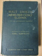 náhled knihy - Malý česko-německý slovník unikum : s mluvnicí, pravopisem a frazeologií
