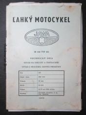náhled knihy - Ľahký motocykel Jawa 50ccm Typ 555. Technický opis. Návod na obsluhu a udržiavanie. Výťah z pravidiel cestnej premávky