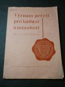 náhled knihy - Význam pečetí pro bádání o minulosti