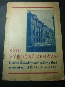náhled knihy - XXIII. výroční zpráva III. státní československé reálky v Brně za školník rok 1932-33.