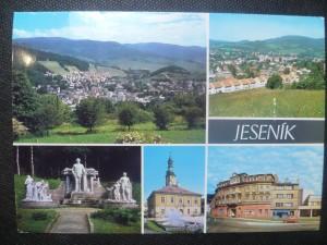 náhled knihy - Jeseník - pohled na město z lázní, pohled od východu, Priessnitzův pomník, Radnice, Hotel Jeseník