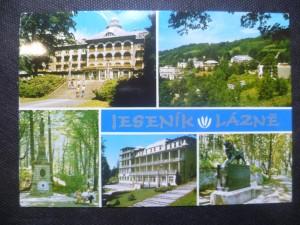 náhled knihy - Jeseník-Lázně - Priessnitzovo sanatorium, Pohled na lázeňské budovy, Český památník, Lázeňský dům Bezruč, Maďarský památník