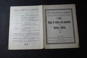 náhled knihy - Pochodové písně národní i sokolské, s dvojhlasnými nápěvy č. 22. Když tě vidím, má panenko. Kolíne, Kolíne.