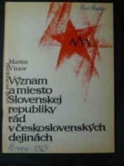náhled knihy - Význam a miesto Slovenskej republiky rád v československých dejinách