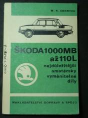 náhled knihy - Škoda 1000MB až 110L -nejdůležitější amatérské vyměnitelné díly