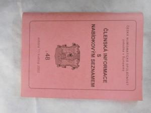 náhled knihy - Česká numismatická společnost : Členská informace s nabídkovým seznamem č. 48