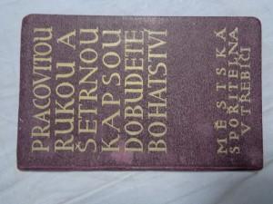 náhled knihy - Vkladní knížka Městské spořitelny v Třebíči