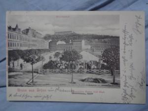 náhled knihy - Gruss aus Brünn. Reftaurations Garten Karl Mach. Betreidemarft.