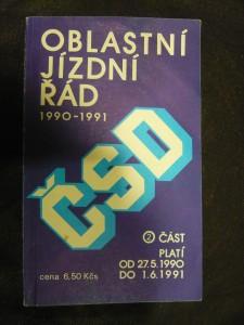 náhled knihy - Oblastní jízdní řád ČSD 1990-1991