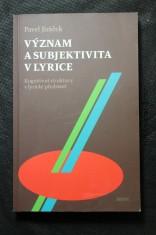 náhled knihy - Význam a subjektivita v lyrice : kognitivní struktury v lyrické představě